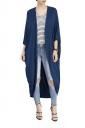 Womens Long Sleeve Asymmetrical Hem Maxi Plain Trench Coat Navy Blue