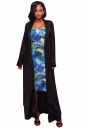 Womens Long Sleeve Turndown Collar Belt Maxi Plain Trench Coat Black