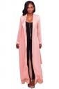 Womens Long Sleeve Turndown Collar Belt Maxi Plain Trench Coat Pink