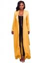 Womens Long Sleeve Turndown Collar Belt Maxi Plain Trench Coat Yellow