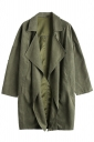 Womens Turndown Collar Pockets Buttons Plain Trench Coat Army Green