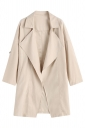 Womens Turndown Collar Pockets Buttons Plain Trench Coat Apricot