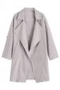 Womens Turndown Collar Pockets Buttons Plain Trench Coat Beige White
