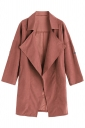 Womens Turndown Collar Pockets Buttons Plain Trench Coat Dark Red