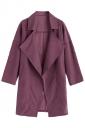 Womens Turndown Collar Pockets Buttons Plain Trench Coat Purple