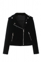 Womens Trendy Turndown Collar Zipper Studded Short Biker Jacket Black