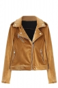 Womens Trendy Turndown Collar Zipper Studded Short Biker Jacket Ginger