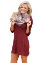 Womens Crew Neck 3/4 Sleeve Plain Fisherman Sweater Dress Ruby