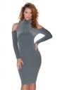 High Collar Cold Shoulder Long Sleeve Textured Sweater Dress Dark Gray