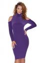 High Collar Cold Shoulder Long Sleeve Textured Sweater Dress Purple