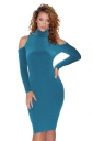 High Collar Cold Shoulder Long Sleeve Textured Sweater Dress Turquoise
