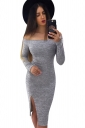 Womens Sexy Off Shoulder Side Slit Bodycon Clubwear Dress Light Gray