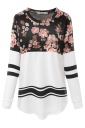Womens Long Sleeve Color Block Pocket Floral Printed Sweatshirt Black