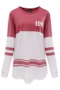 Womens Long Sleeve Color Block Pocket Letter Printed Sweatshirt Pink