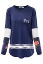 Long Sleeve Color Block Pocket Floral Printed Sweatshirt Navy Blue