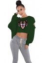 Cut Out Batwing Sleeve Crop Top Tiger Printed Sweatshirt Army Green