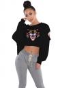 Womens Cut Out Batwing Sleeve Crop Top Tiger Printed Sweatshirt Black