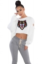 Crew Neck Cut Out Batwing Sleeve Crop Top Printed Sweatshirt White