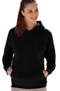 Womens Drawstring Long Sleeve Kangaroo Pocket Sport Plain Hoodie Black