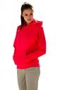Womens Drawstring Long Sleeve Kangaroo Pocket Sport Plain Hoodie Red