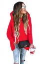 Womens Long Sleeve Asymmetrical Hem Plus Size Plain Hoodie Red