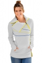 Womens Long Sleeve Turndown Collar Zip And Piping Trim Sweatshirt Gray