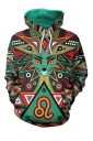 Womens Drawstring Kangaroo Pocket Long Sleeve Cat Printed Hoodie Green