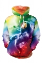 Womens Drawstring Kangaroo Pocket Spaceman Printed Hoodie Multicolour