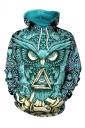Womens Drawstring Kangaroo Pocket Owl Printed Hoodie Turquoise
