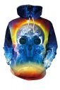 Womens Drawstring Kangaroo Pocket Spaceman Printed Hoodie Navv Blue
