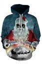 Womens Scary Drawstring Galaxy Santa Printed Christmas Hoodie Blue