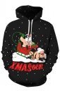 Womens Kangaroo Pocket Drawstring Santa Printed Christmas Hoodie Black
