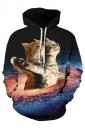 Womens Stylish Drawstring Galaxy Cat Printed Hoodie Brown