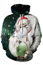 Womens Kangaroo Pocket Santa Printed Christmas Hoodie Beige White
