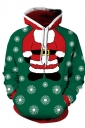 Womens Drawstring Snowman Santa Printed Christmas Hoodie Dark Green