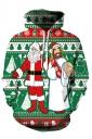 Womens Drawstring Snowman Santa Printed Ugly Christmas Hoodie Green