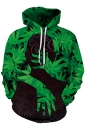 Womens Stylish Kangaroo Pocket Leaves Printed Hoodie Oliver Green