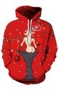 Women Drawstring Kangaroo Pocket Reindeer Printed Christmas Hoodie Red
