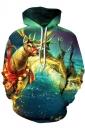Kangaroo Pocket Reindeer Printed Galaxy Christmas Hoodie Turquoise