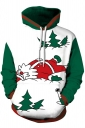 Womens Drawstring Kangaroo Pocket Santa Printed Christmas Hoodie White