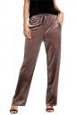 Womens Elastic Drawstring Wide Legs Velvet Sport Leisure Pants Coffee