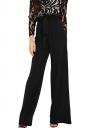 Womens Elegant High Ruffle Waist Belt Wide Legs Leisure Pants Black
