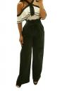 Womens Oversized High Ruffle Waist Belt Wide Legs Leisure Pants Black