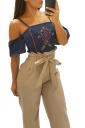 Womens Oversized High Ruffle Waist Belt Wide Legs Leisure Pants Khaki