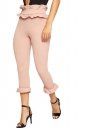 Womens Skinny High Waist Bandage Ruffle Hem Capri Leisure Pants Pink