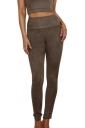 Womens Close-Fitting High Waisted Zipper Leisure Pants Army Green