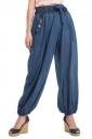 Womens Oversized Waist Tie Pocket Button Plain Leisure Pants Navy Blue