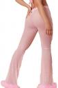 Womens Sexy High Waisted Fur Hem Sheer Plain Leisure Pants Pink