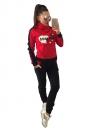 Women High Collar Long Sleeve Kangaroo Pocket Sweatshirt Long Suit Red