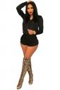 Womens Long Sleeve Zipper Hooded Top Short Pants Pleuche Suit Black